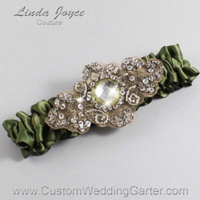 Moss and Brown Wedding Garter / Green Wedding Garters / Bijou #01-A01-570-Moss_Antique / Wedding Garters / Custom Wedding Garters / Bridal Garter / Prom Garter / Linda Joyce Couture