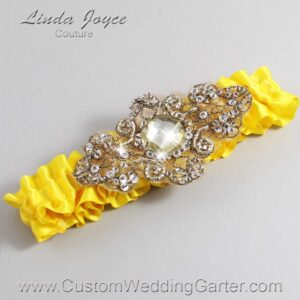 Sunglow and Brown Wedding Garter / Yellow Wedding Garters / Bijou #01-A01-645-Sunglow_Antique / Wedding Garters / Custom Wedding Garters / Bridal Garter / Prom Garter / Linda Joyce Couture