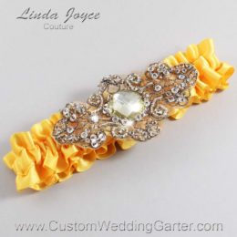 Saffron and Brown Wedding Garter / Yellow Wedding Garters / Bijou #01-A01-658-Saffron_Antique / Wedding Garters / Custom Wedding Garters / Bridal Garter / Prom Garter / Linda Joyce Couture