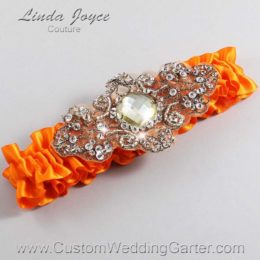 Tangerine and Brown Wedding Garter / Orange Wedding Garters / Bijou #01-A01-668-Tangerine_Antique / Wedding Garters / Custom Wedding Garters / Bridal Garter / Prom Garter / Linda Joyce Couture