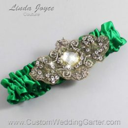 Emerald Green and Brown Wedding Garter / Green Wedding Garters / Bijou #01-A01-684-Emerald-Green_Antique / Wedding Garters / Custom Wedding Garters / Bridal Garter / Prom Garter / Linda Joyce Couture