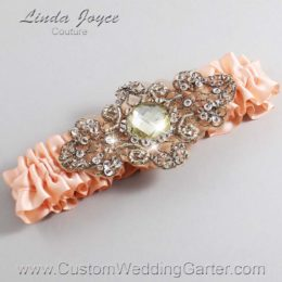Petal Peach and Brown Wedding Garter / Orange Wedding Garters / Bijou #01-A01-714-Petal-Peach_Antique / Wedding Garters / Custom Wedding Garters / Bridal Garter / Prom Garter / Linda Joyce Couture