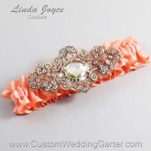 Salmon and Brown Wedding Garter / Orange Wedding Garters / Bijou #01-A01-720-Salmon_Antique / Wedding Garters / Custom Wedding Garters / Bridal Garter / Prom Garter / Linda Joyce Couture