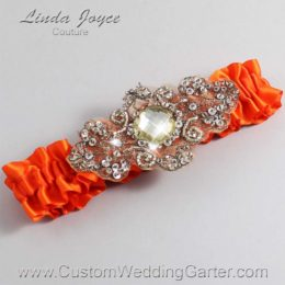 Torrid Orange and Brown Wedding Garter / Orange Wedding Garters / Bijou #01-A01-749-Torrid-Orange_Antique / Wedding Garters / Custom Wedding Garters / Bridal Garter / Prom Garter / Linda Joyce Couture