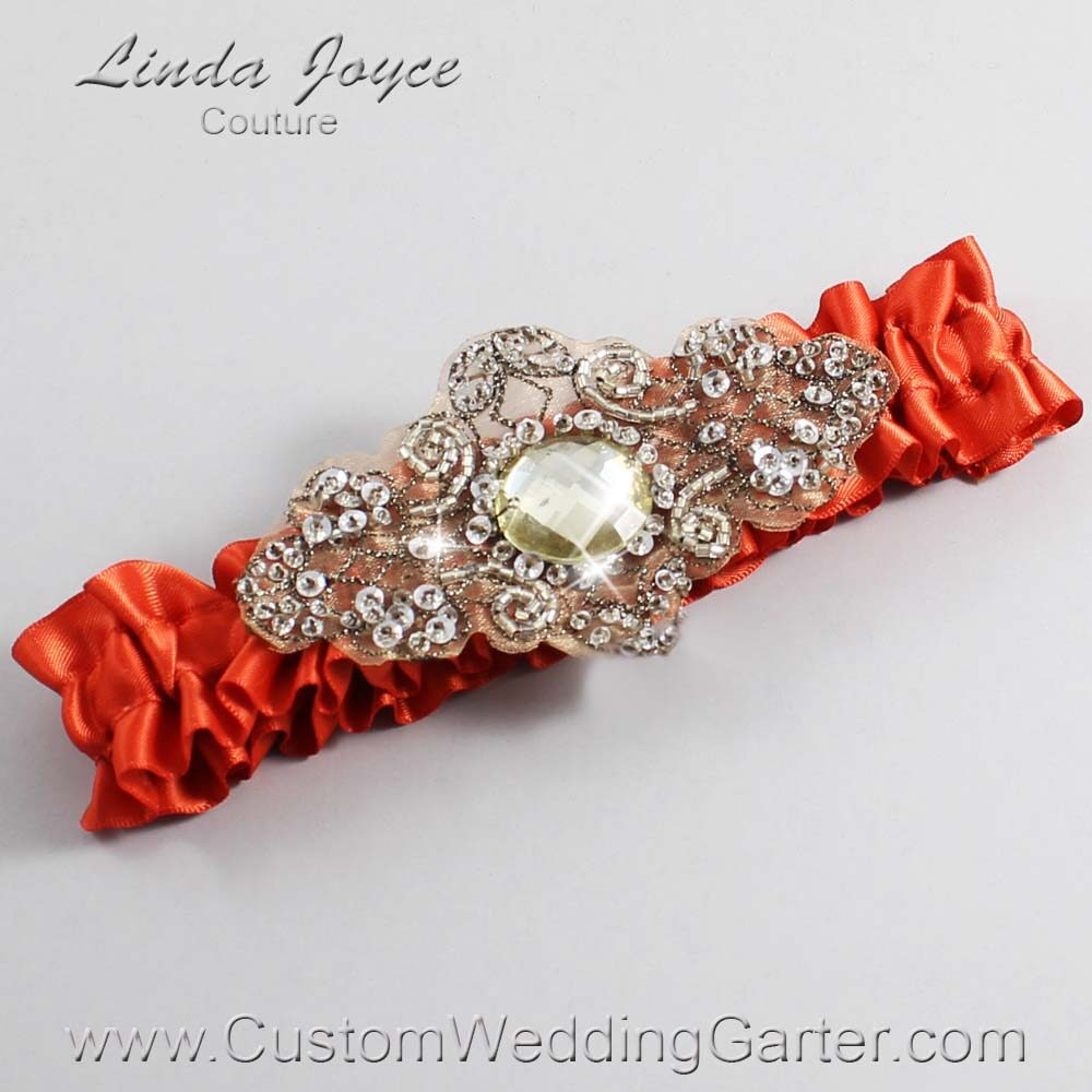 Mandarin-Orange and Brown Wedding Garter / Orange Wedding Garters / Bijou #01-A01-765-Mandarin-Orange_Antique / Wedding Garters / Custom Wedding Garters / Bridal Garter / Prom Garter / Linda Joyce Couture