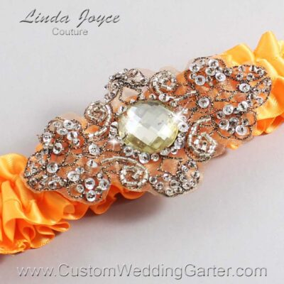 Curry and Brown Wedding Garter / Orange Wedding Garters / Bijou #01-A01-772-Curry_Antique / Wedding Garters / Custom Wedding Garters / Bridal Garter / Prom Garter / Linda Joyce Couture