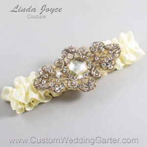 Cosmic Latte and Brown Wedding Garter / Ivory Wedding Garters / Bijou #01-A01-810-Cosmic-Latte_Antique / Wedding Garters / Custom Wedding Garters / Bridal Garter / Prom Garter / Linda Joyce Couture