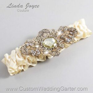 Beige and Brown Wedding Garter / Ivory Wedding Garters / Bijou #01-A01-815-Beige_Antique / Wedding Garters / Custom Wedding Garters / Bridal Garter / Prom Garter / Linda Joyce Couture