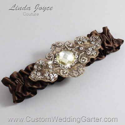 Coffee and Brown Wedding Garter / Brown Wedding Garters / Bijou #01-A01-850-Coffee_Antique / Wedding Garters / Custom Wedding Garters / Bridal Garter / Prom Garter / Linda Joyce Couture