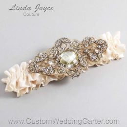 Antique White and Brown Wedding Garter / Ivory Wedding Garters / Bijou #01-A01-860-Antique-White_Antique / Wedding Garters / Custom Wedding Garters / Bridal Garter / Prom Garter / Linda Joyce Couture