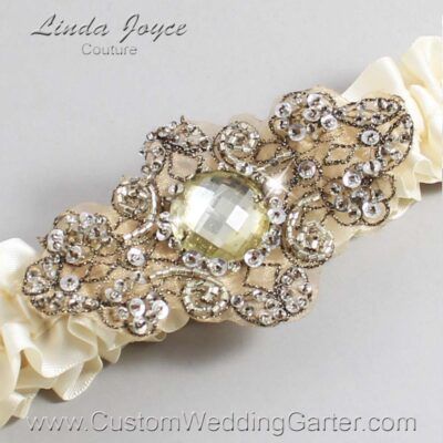 Ivory and Brown Wedding Garter / Ivory Wedding Garters / Bijou #01-A01-871-Ivory_Antique / Wedding Garters / Custom Wedding Garters / Bridal Garter / Prom Garter / Linda Joyce Couture