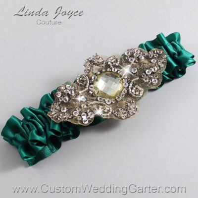 Hunter Green and Brown Wedding Garter / Green Wedding Garters / Bijou #01-A01-925-Hunter-Green_Antique / Wedding Garters / Custom Wedding Garters / Bridal Garter / Prom Garter / Linda Joyce Couture