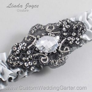 Shell Gray and Black Wedding Garter / Gray) Wedding Garters / Bijou #01-A02-007-Shell-Gray_Black / Wedding Garters / Custom Wedding Garters / Bridal Garter / Prom Garter / Linda Joyce Couture