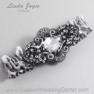 Grey and Black Wedding Garter / Gray Wedding Garters / Bijou #01-A02-012-Grey_Black / Wedding Garters / Custom Wedding Garters / Bridal Garter / Prom Garter / Linda Joyce Couture