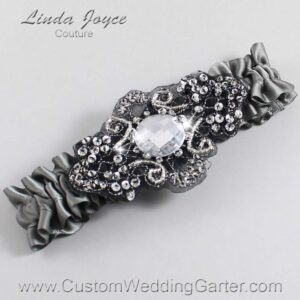 Metal Gray and Black Wedding Garter / Gray Wedding Garters / Bijou #01-A02-017-Metal-Gray_Black / Wedding Garters / Custom Wedding Garters / Bridal Garter / Prom Garter / Linda Joyce Couture