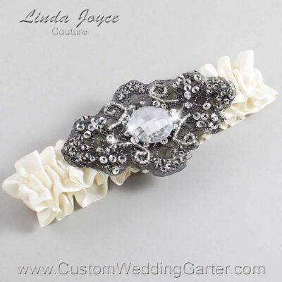 Old Lace and Black Wedding Garter / Ivory Wedding Garters / Bijou #01-A02-028-Old-Lace_Black / Wedding Garters / Custom Wedding Garters / Bridal Garter / Prom Garter / Linda Joyce Couture