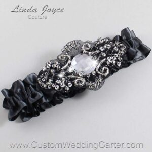 Charcoal and Black Wedding Garter / Gray Wedding Garters / Bijou #01-A02-077-Charcoal_Black / Wedding Garters / Custom Wedding Garters / Bridal Garter / Prom Garter / Linda Joyce Couture