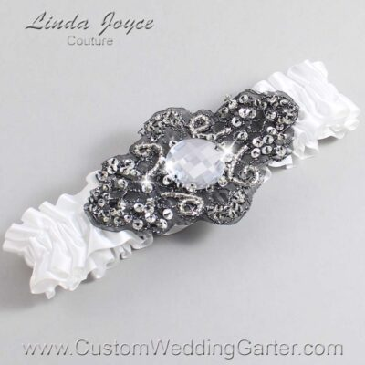 White and Black Wedding Garter / White Wedding Garters / Bijou #01-A02-112-White_Black / Wedding Garters / Custom Wedding Garters / Bridal Garter / Prom Garter / Linda Joyce Couture