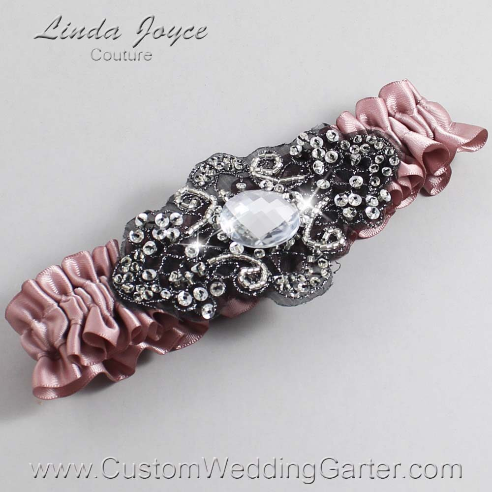 Cameo and Black Wedding Garter / Pink Wedding Garters / Bijou #01-A02-146-Cameo_Black / Wedding Garters / Custom Wedding Garters / Bridal Garter / Prom Garter / Linda Joyce Couture