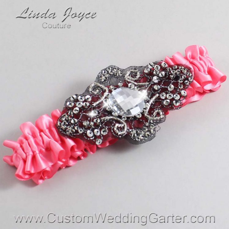 Coral Rose and Black Wedding Garter / Pink Wedding Garters / Bijou #01-A02-210-Coral-Rose_Black / Wedding Garters / Custom Wedding Garters / Bridal Garter / Prom Garter / Linda Joyce Couture
