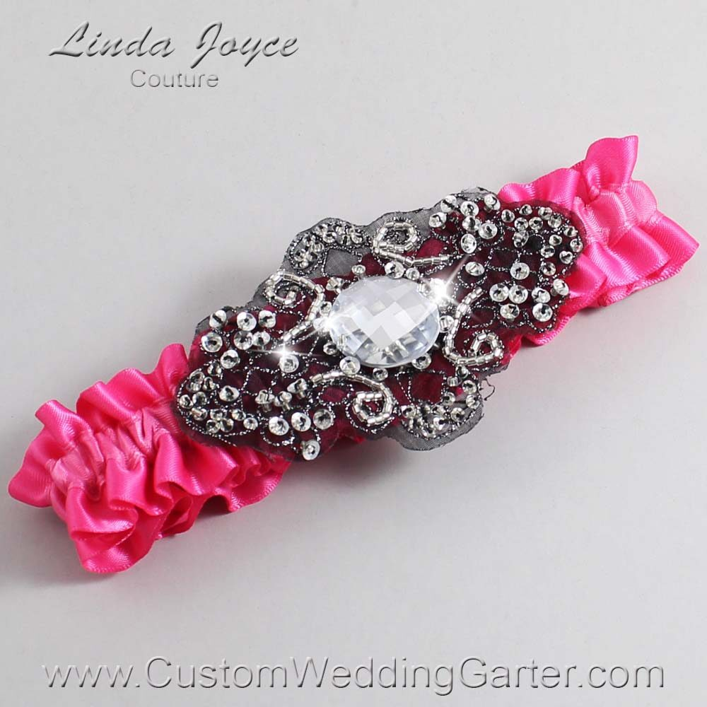 Fuchsia and Black Wedding Garter / Pink Wedding Garters / Bijou #01-A02-233-Fuchsia_Black / Wedding Garters / Custom Wedding Garters / Bridal Garter / Prom Garter / Linda Joyce Couture