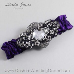 Plum and Black Wedding Garter / Purple Wedding Garters / Bijou #01-A02-285-Plum_Black / Wedding Garters / Custom Wedding Garters / Bridal Garter / Prom Garter / Linda Joyce Couture