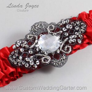 Red and Black Wedding Garter / Red Wedding Garters / Bijou #01-A02-299-Red_Black / Wedding Garters / Custom Wedding Garters / Bridal Garter / Prom Garter / Linda Joyce Couture