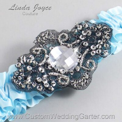 Alice Blue and Black Wedding Garter / Blue Wedding Garters / Bijou #01-A02-305-Alice-Blue_Black / Wedding Garters / Custom Wedding Garters / Bridal Garter / Prom Garter / Linda Joyce Couture