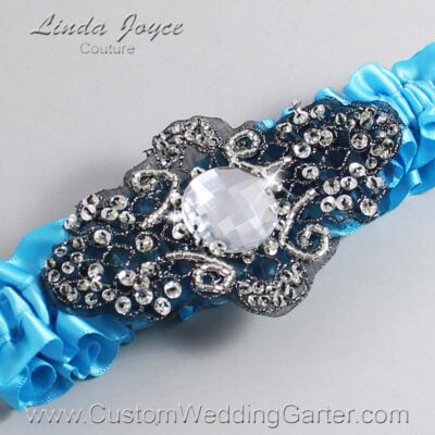 Turquoise and Black Wedding Garter / Blue Wedding Garters / Bijou #01-A02-340-Turquoise_Black / Wedding Garters / Custom Wedding Garters / Bridal Garter / Prom Garter / Linda Joyce Couture
