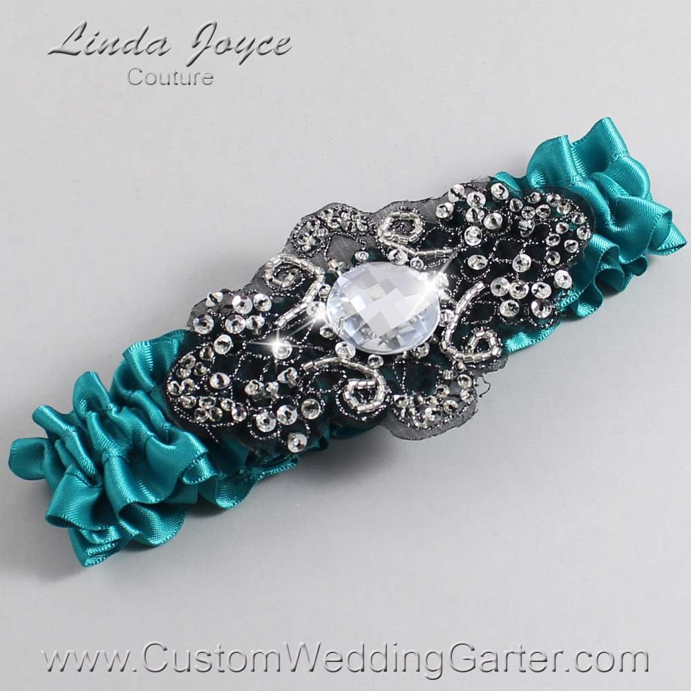 Jade and Black Wedding Garter / Teal Wedding Garters / Bijou #01-A02-346-Jade_Black / Wedding Garters / Custom Wedding Garters / Bridal Garter / Prom Garter / Linda Joyce Couture