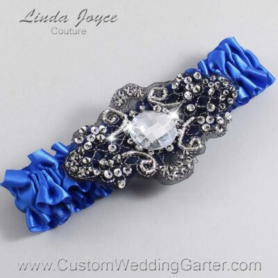 Royal Blue and Black Wedding Garter / Blue Wedding Garters / Bijou #01-A02-350-Royal-Blue_Black / Wedding Garters / Custom Wedding Garters / Bridal Garter / Prom Garter / Linda Joyce Couture