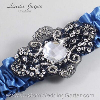 Smoke Blue and Black Wedding Garter / Blue Wedding Garters / Bijou #01-A02-363-Smoke-Blue_Black / Wedding Garters / Custom Wedding Garters / Bridal Garter / Prom Garter / Linda Joyce Couture