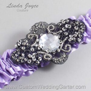 Lavender and Black Wedding Garter / Purple Wedding Garters / Bijou #01-A02-430-Lavender_Black / Wedding Garters / Custom Wedding Garters / Bridal Garter / Prom Garter / Linda Joyce Couture