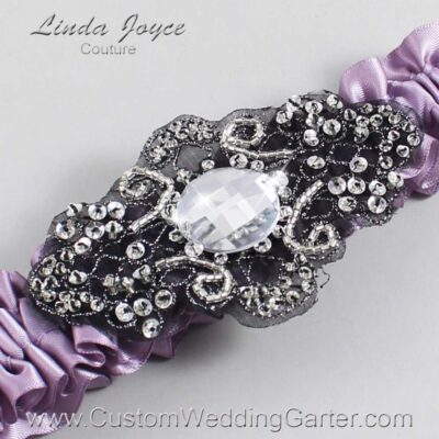 Fresco and Black Wedding Garter / Purple Wedding Garters / Bijou #01-A02-434-Fresco_Black / Wedding Garters / Custom Wedding Garters / Bridal Garter / Prom Garter / Linda Joyce Couture