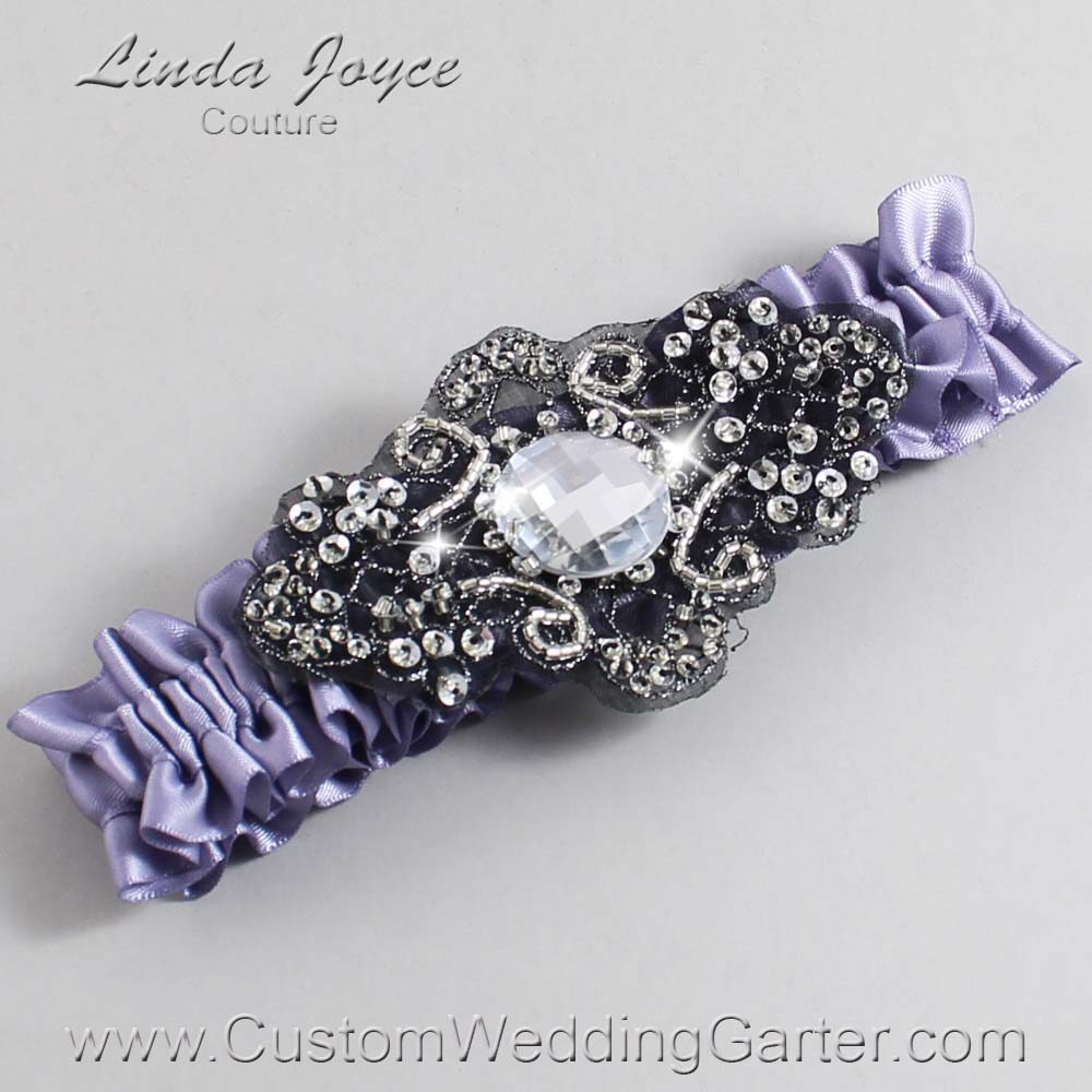 Thistle and Black Wedding Garter / Purple Wedding Garters / Bijou #01-A02-435-Thistle_Black / Wedding Garters / Custom Wedding Garters / Bridal Garter / Prom Garter / Linda Joyce Couture