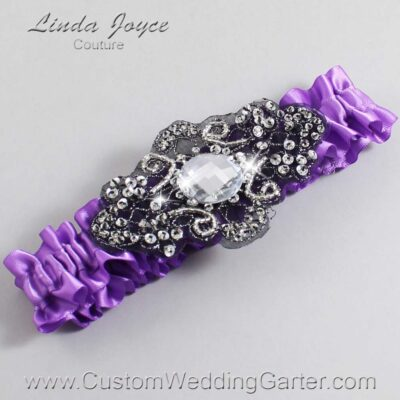 Grape and Black Wedding Garter / Purple Wedding Garters / Bijou #01-A02-463-Grape_Black / Wedding Garters / Custom Wedding Garters / Bridal Garter / Prom Garter / Linda Joyce Couture