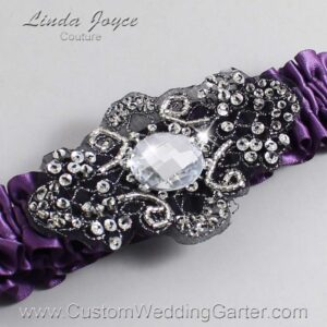 Amethyst and Black Wedding Garter / Purple Wedding Garters / Bijou #01-A02-473-Amethyst_Black / Wedding Garters / Custom Wedding Garters / Bridal Garter / Prom Garter / Linda Joyce Couture