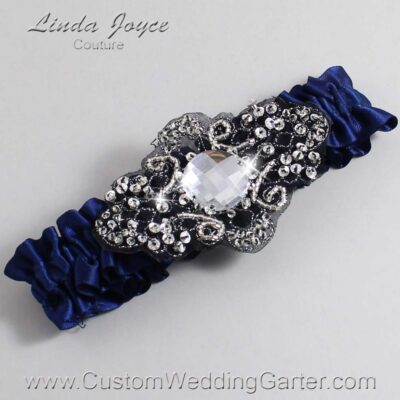 (Satin_Color_Name) and Black Wedding Garter / Blue Wedding Garters / Bijou #01-A02-508-Navy-Blue_Black / Wedding Garters / Custom Wedding Garters / Bridal Garter / Prom Garter / Linda Joyce Couture
