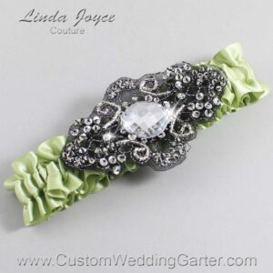 Lime Juice and Black Wedding Garter / Green Wedding Garters / Bijou #01-A02-524-Lime-Juice_Black / Wedding Garters / Custom Wedding Garters / Bridal Garter / Prom Garter / Linda Joyce Couture