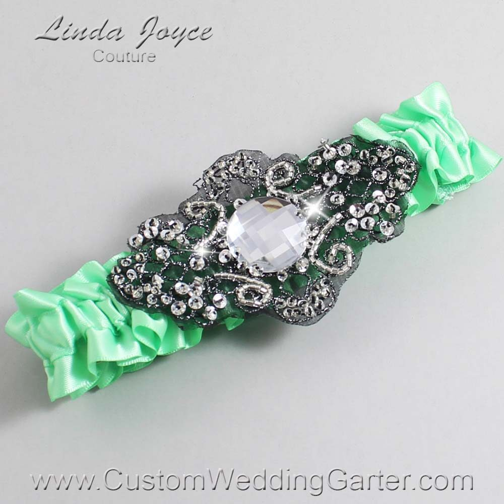 Mint and Black Wedding Garter / Green Wedding Garters / Bijou #01-A02-531-Mint_Black / Wedding Garters / Custom Wedding Garters / Bridal Garter / Prom Garter / Linda Joyce Couture