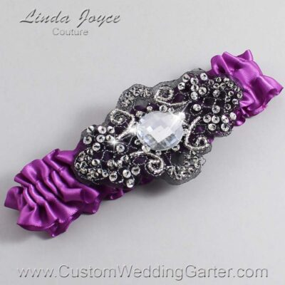 Helio and Black Wedding Garter / Purple Wedding Garters / Bijou #01-A02-541-Helio_Black / Wedding Garters / Custom Wedding Garters / Bridal Garter / Prom Garter / Linda Joyce Couture