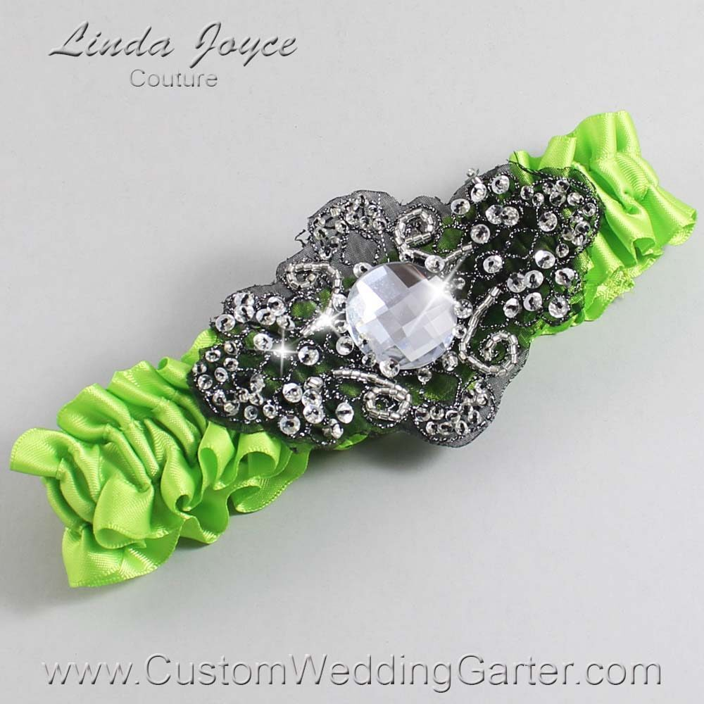 Green Yellow and Black Wedding Garter / Green Wedding Garters / Bijou #01-A02-550-Green-Yellow_Black / Wedding Garters / Custom Wedding Garters / Bridal Garter / Prom Garter / Linda Joyce Couture