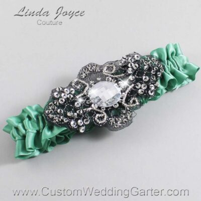 Celadon and Black Wedding Garter / Green Wedding Garters / Bijou #01-A02-564-Celadon_Black / Wedding Garters / Custom Wedding Garters / Bridal Garter / Prom Garter / Linda Joyce Couture