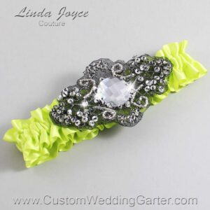Pineapple and Black Wedding Garter / Yellow Wedding Garters / Bijou #01-A02-625-Pineapple_Black / Wedding Garters / Custom Wedding Garters / Bridal Garter / Prom Garter / Linda Joyce Couture