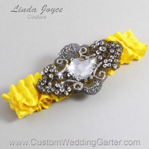 Sunglow and Black Wedding Garter / Yellow Wedding Garters / Bijou #01-A02-645-Sunglow_Black / Wedding Garters / Custom Wedding Garters / Bridal Garter / Prom Garter / Linda Joyce Couture