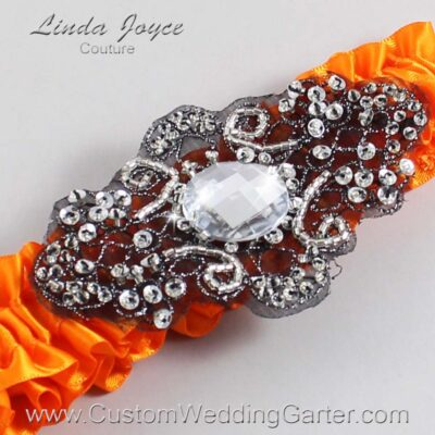 Tangerine and Black Wedding Garter / Orange Wedding Garters / Bijou #01-A02-668-Tangerine_Black / Wedding Garters / Custom Wedding Garters / Bridal Garter / Prom Garter / Linda Joyce Couture