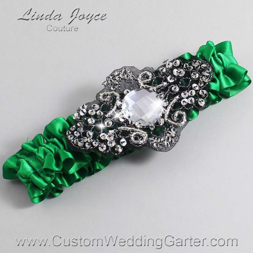 Emerald Green and Black Wedding Garter / Green Wedding Garters / Bijou #01-A02-684-Emerald-Green_Black / Wedding Garters / Custom Wedding Garters / Bridal Garter / Prom Garter / Linda Joyce Couture
