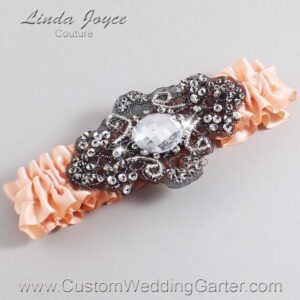 Petal Peach and Black Wedding Garter / Orange Wedding Garters / Bijou #01-A02-714-Petal-Peach_Black / Wedding Garters / Custom Wedding Garters / Bridal Garter / Prom Garter / Linda Joyce Couture