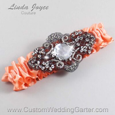 Salmon and Black Wedding Garter / Orange Wedding Garters / Bijou #01-A02-720-Salmon_Black / Wedding Garters / Custom Wedding Garters / Bridal Garter / Prom Garter / Linda Joyce Couture