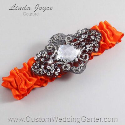 Torrid Orange and Black Wedding Garter / Orange Wedding Garters / Bijou #01-A02-749-Torrid-Orange_Black / Wedding Garters / Custom Wedding Garters / Bridal Garter / Prom Garter / Linda Joyce Couture
